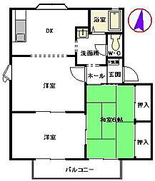 フォーレスト白木原[2階]の間取り