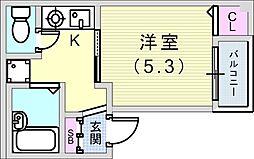 シャンブル神戸 2階1Kの間取り