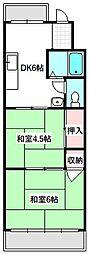 Osaka Metro谷町線 守口駅 徒歩10分の賃貸マンション 3階2DKの間取り