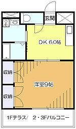 東京都東大和市中央1丁目の賃貸アパートの間取り