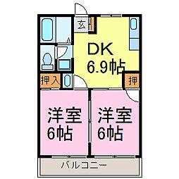 愛知県知多市朝倉町の賃貸アパートの間取り