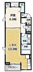ガーデンハイム久御山 3階1LDKの間取り