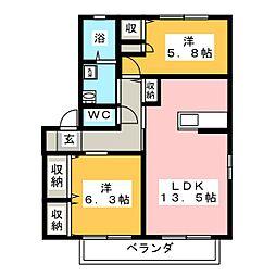 コータ・コートW B棟[2階]の間取り