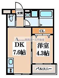 (仮称)東大阪市稲田上町1丁目計画 1階1DKの間取り