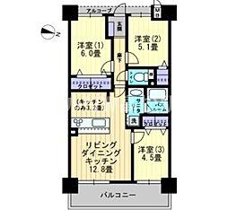 香川県高松市多賀町2丁目の賃貸マンションの間取り