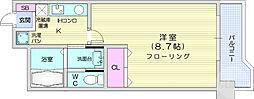 JR仙山線 東北福祉大前駅 徒歩13分の賃貸マンション 4階1Kの間取り