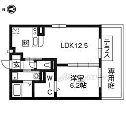京都市営烏丸線 くいな橋駅 徒歩3分の賃貸アパート 1階1LDKの間取り
