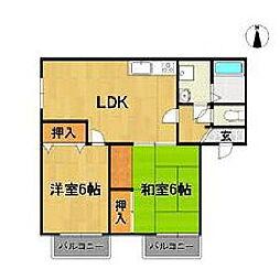 福岡県久留米市善導寺町飯田の賃貸アパートの間取り