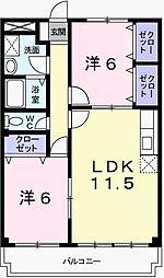 兵庫県姫路市広畑区才の賃貸マンションの間取り