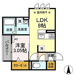 JR東海道本線 岐阜駅 徒歩9分の賃貸アパート 1階1DKの間取り