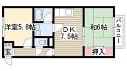 グローリィ桜ケ丘南[201号室]の間取り