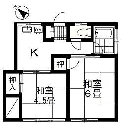 埼玉県北本市東間2丁目の賃貸アパートの間取り