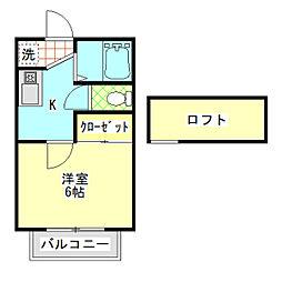 オレンジビラ3号棟[2A号室]の間取り