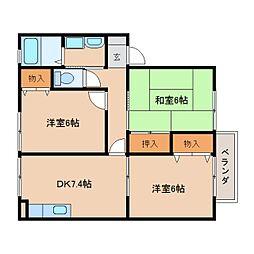 近鉄天理線 二階堂駅 徒歩11分の賃貸アパート 1階3DKの間取り