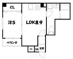 More五条II 3階1LDKの間取り