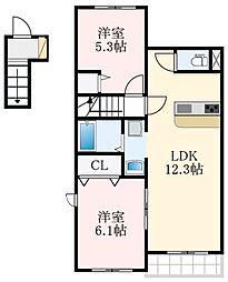 南海高野線 萩原天神駅 徒歩5分の賃貸アパート 2階2LDKの間取り