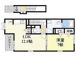 南海線 北助松駅 徒歩12分の賃貸アパート 2階1LDKの間取り