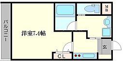 AILE京橋 3階1Kの間取り