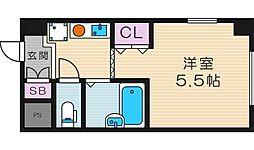 レヴェ北田辺[2階]の間取り