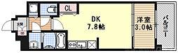 THE GARNET MILLENNIUM KYOTO九条烏丸 2階1DKの間取り