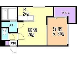 KOULA(コウラ) 2階1LDKの間取り