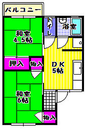 大阪府富田林市中野町1丁目の賃貸アパートの間取り