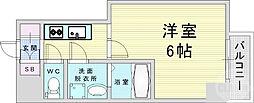 阪神本線 姫島駅 徒歩10分の賃貸マンション 2階1Kの間取り