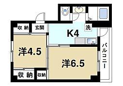JR桜井線 巻向駅 徒歩8分の賃貸マンション 4階2Kの間取り