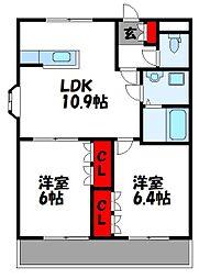 コリーナベルデII 3階2LDKの間取り