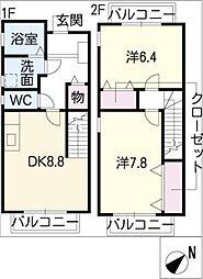 [タウンハウス] 愛知県清須市春日桑 の賃貸【/】の間取り