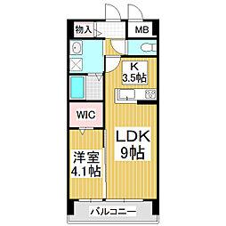 サミット栗田中央 4階1LDKの間取り