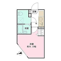 CHESNUTT TAKATANOBABA 2階1Kの間取り