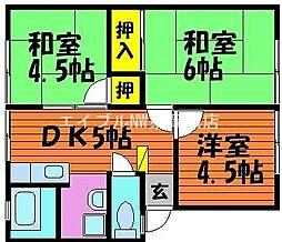 岡山県岡山市中区倉富丁目なしの賃貸アパートの間取り