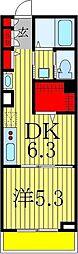 カーサ増尾駅前 2階1DKの間取り