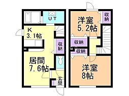 新川西ホーム 1階2LDKの間取り