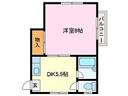 近鉄鳥羽線 宇治山田駅 徒歩14分の賃貸アパート 2階1DKの間取り