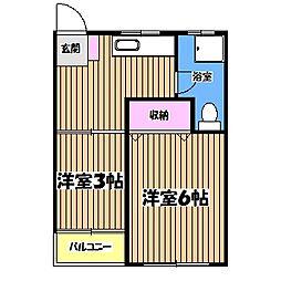 東京都青梅市本町の賃貸マンションの間取り