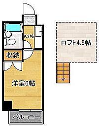 ロイヤルシャトー黒崎 5階1Kの間取り