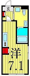 つくばエクスプレス 浅草駅 徒歩13分の賃貸マンション 4階ワンルームの間取り
