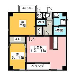 カーサK.R.C[2階]の間取り
