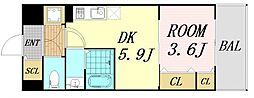 サムティ福島Rufle 6階1DKの間取り