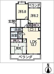 サニーコート赤童子[2階]の間取り