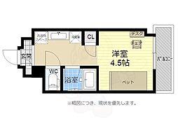 キャンパスヴィレッジ京都西京極 4階1Kの間取り