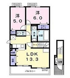 エスポワール深大B[2階]の間取り