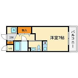 大阪府箕面市小野原東5丁目の賃貸マンションの間取り