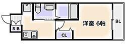 Osaka Metro四つ橋線 花園町駅 徒歩3分の賃貸マンション 1階1Kの間取り