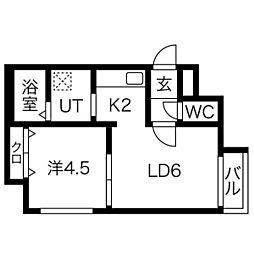 ラ・ベーラ 4階1LDKの間取り