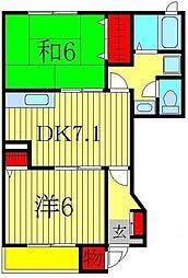 千葉県柏市しいの木台2丁目の賃貸アパートの間取り