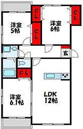 JR鹿児島本線 東郷駅 徒歩14分の賃貸マンション 3階3LDKの間取り