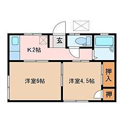 三重県松阪市平生町の賃貸アパートの間取り